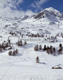 Skiing slope Diavolezza
