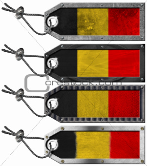 Belgium Flags Set of Grunge Metal Tags