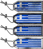 Greece Flags Set of Grunge Metal Tags