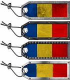 Romania Flags Set of Grunge Metal Tags