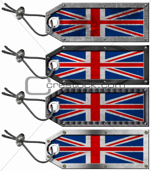 UK Flags Set of Grunge Metal Tags
