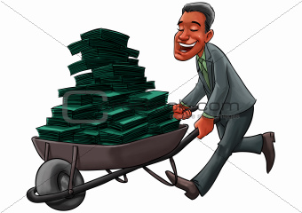 Business man carrying a cart with a lot of money