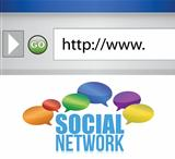 browser window shows a social network of people