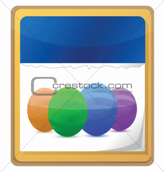 calendar with easter mark with colorful eggs