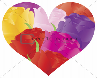 Colorful Roses in Heart Shape Outline Illustration