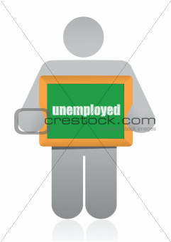 """holding a sign that says """"unemployed""""."""