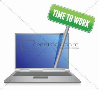 time to work sign on laptop