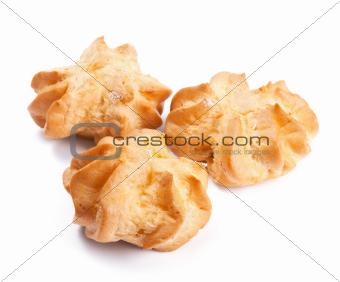 Fresh profiteroles isolated on white