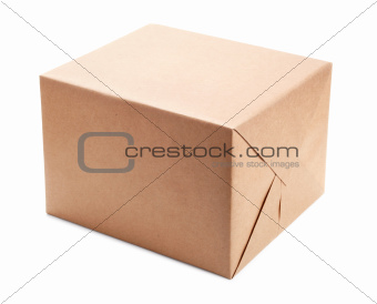 Parcel wrapped with brown packing paper