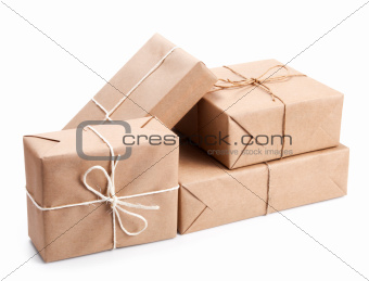 Group of parcel wrapped with brown packing paper