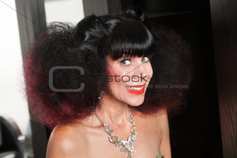 White Lady in Afro and Big Smile