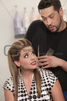 Hairdresser Talking With Client