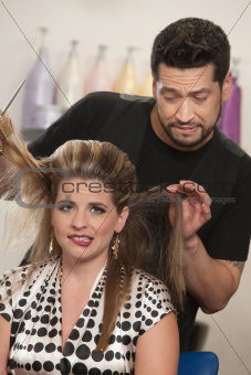 Embarrassed Woman with Hairdresser