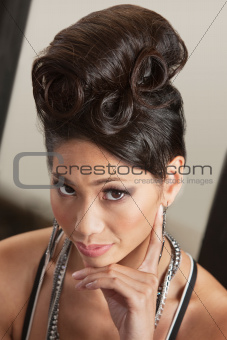 Serious Female in Retro Hairdo