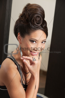 Smiling Woman with Retro Hairdo
