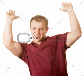 Man with Arms Up