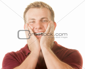 Happy Man With Hands on Face