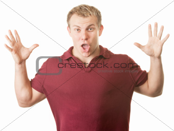 Excited Man with Hands Up