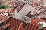 Tiled roofs of Prague, Czech Republic.