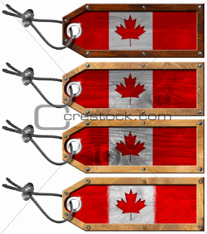 Canada Flags Set of Grunge Wooden Tags