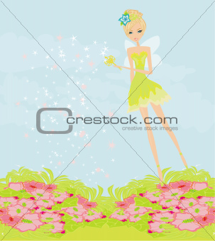 beautiful fairy with magic wand vector graphic