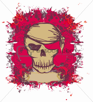 Skull Pirate - retro card