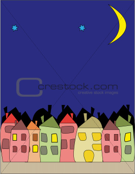 city ​​at night - illustration of night city