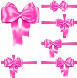 Pink ribbon and bow set