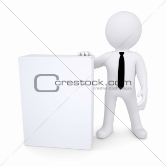 3d white man next to the white box