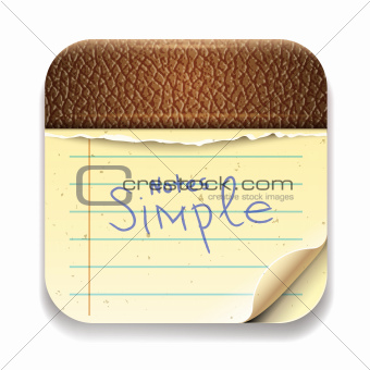 User interface notepad  icon, vector Eps10 illustration.
