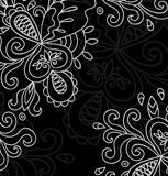 Invitation card on Black background with lace white ornament.
