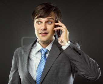 Business man talking on his cellphone