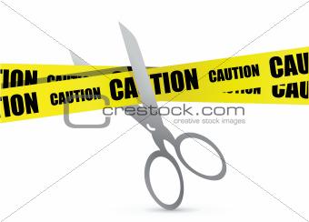 under construction tape with scissor