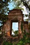 Old ruined doorway in a forest