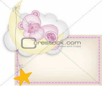 Baby girl label teddy bear sleeping on a moon