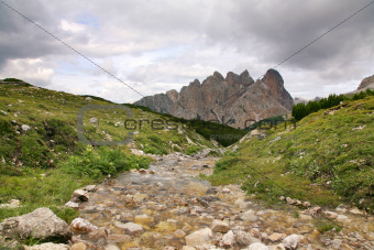 Beautiful landscape with small brook - Dolomites, Italy