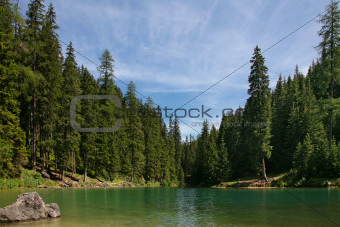 Beautiful, colour lake Lago di Braies in Dolomiti Mountains 2 - 