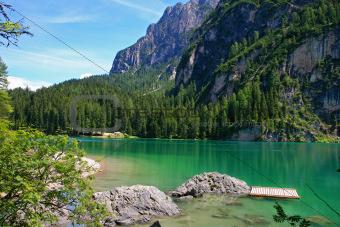 Beautiful, colour lake Lago di Braies in Dolomiti Mountains 4 -