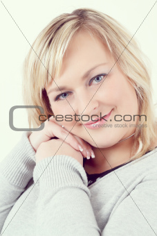 cute smiling relaxing plump woman
