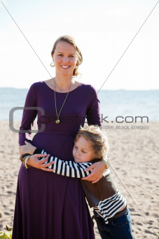 Mother and son at beach.