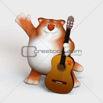 Kitten with a guitar.