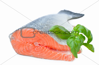 The tail part of the salmon