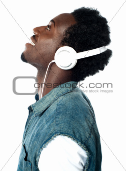 A handsome young boy with headphones