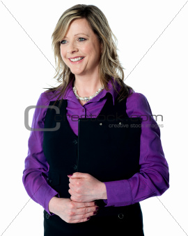 Corporate lady holding business documents