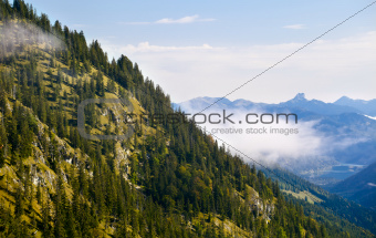 Bavarian Alps with fog