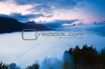 morning fog in high mountains