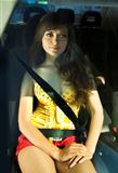 woman fastened by seat belt