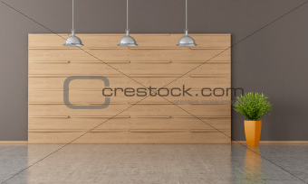 brown empty room with wooden panel - rendering