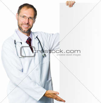 smiling medical doctor showing clipboard