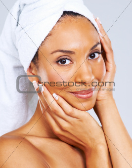 Relishing her skin sensations